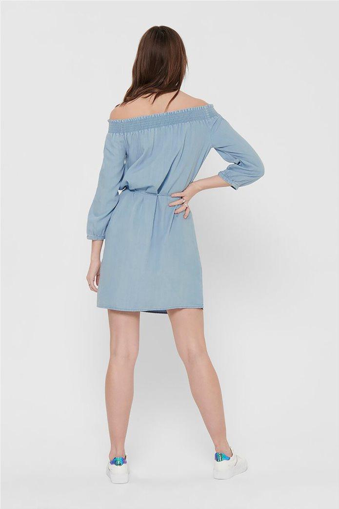 ONLY γυναικείο denim φόρεμα με carmen λαιμόκοψη Μπλε Ανοιχτό 2
