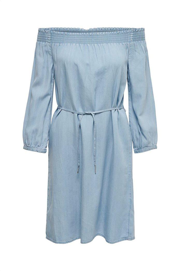 ONLY γυναικείο denim φόρεμα με carmen λαιμόκοψη Μπλε Ανοιχτό 4