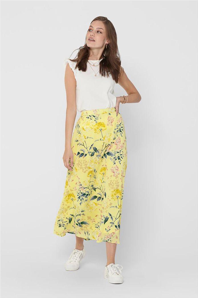 ONLY γυναικεία midi φούστα με floral print Κίτρινο 0