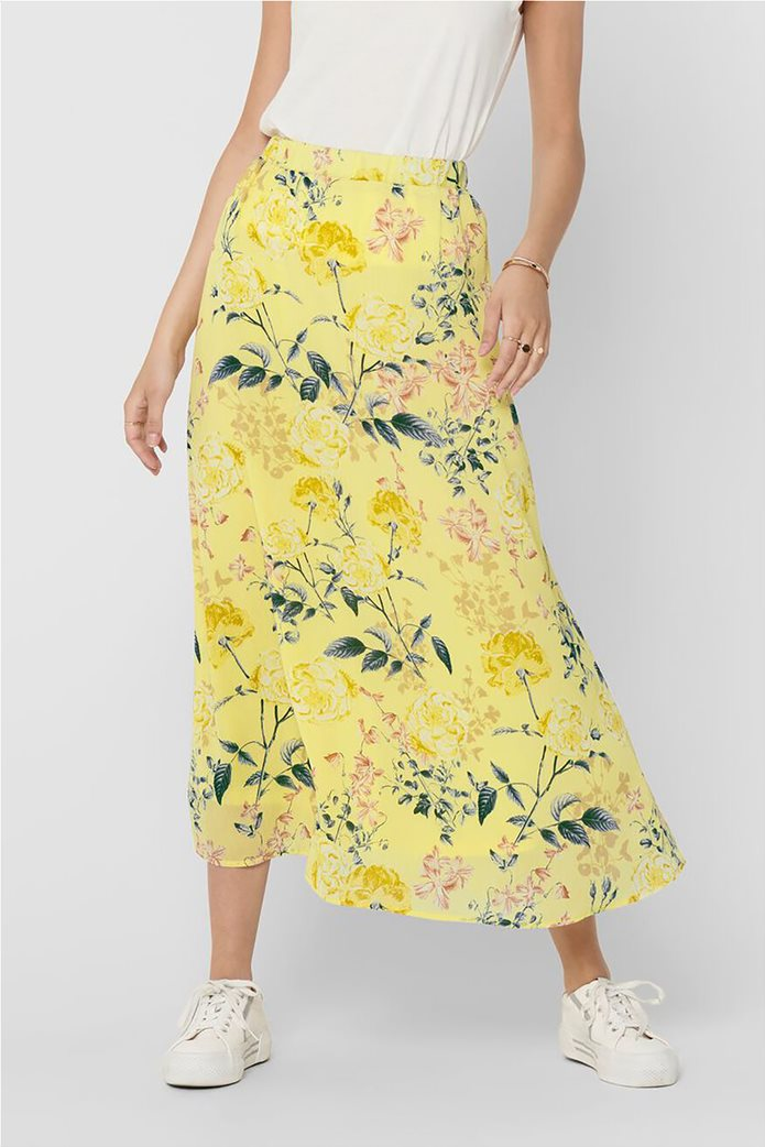 ONLY γυναικεία midi φούστα με floral print Κίτρινο 1