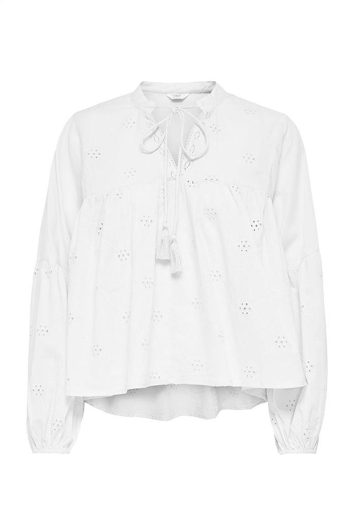 ONLY γυναικεία μπλούζα με διάτρητα κεντήματα και δέσιμο 0