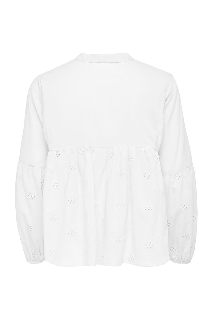 ONLY γυναικεία μπλούζα με διάτρητα κεντήματα και δέσιμο 1