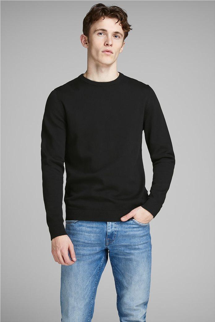 JACK & JONES ανδρική πλεκτή μπλούζα μονόχρωμη Μαύρο 0