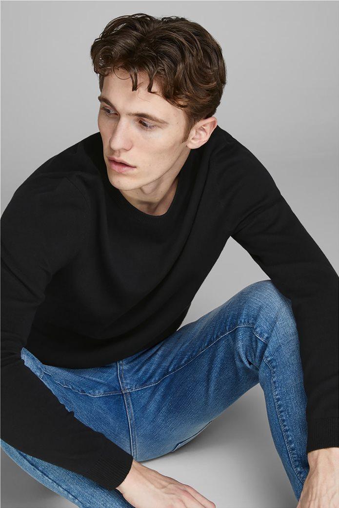 JACK & JONES ανδρική πλεκτή μπλούζα μονόχρωμη Μαύρο 1