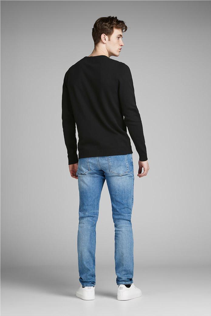 JACK & JONES ανδρική πλεκτή μπλούζα μονόχρωμη Μαύρο 2