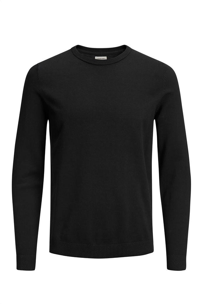 JACK & JONES ανδρική πλεκτή μπλούζα μονόχρωμη Μαύρο 3