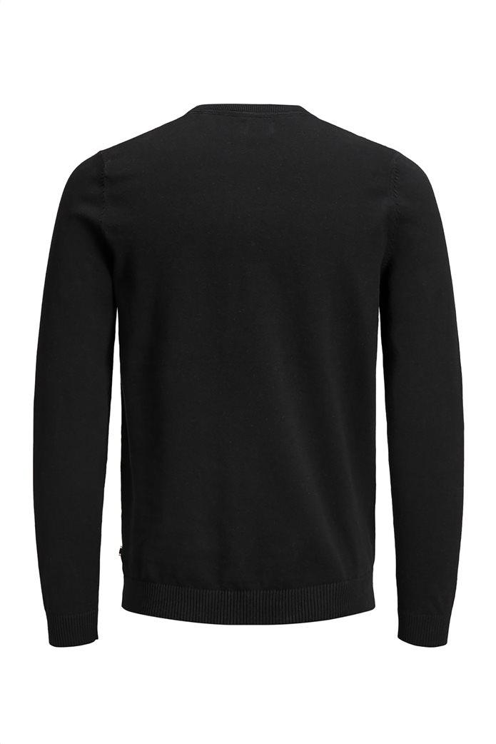 JACK & JONES ανδρική πλεκτή μπλούζα μονόχρωμη Μαύρο 4
