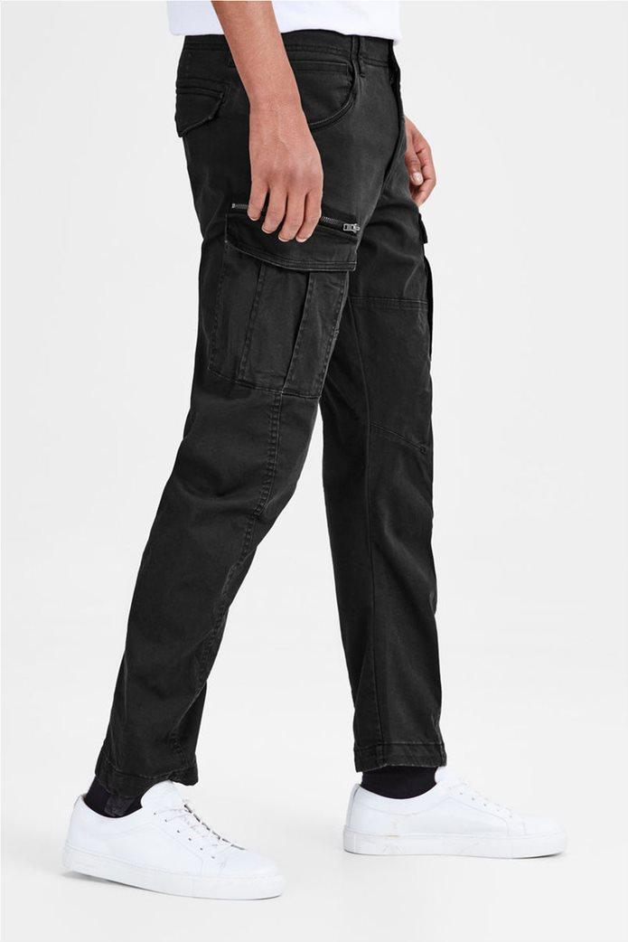JACK & JONES ανδρικό μαύρο παντελόνι cargo Drake chop akm 574 3