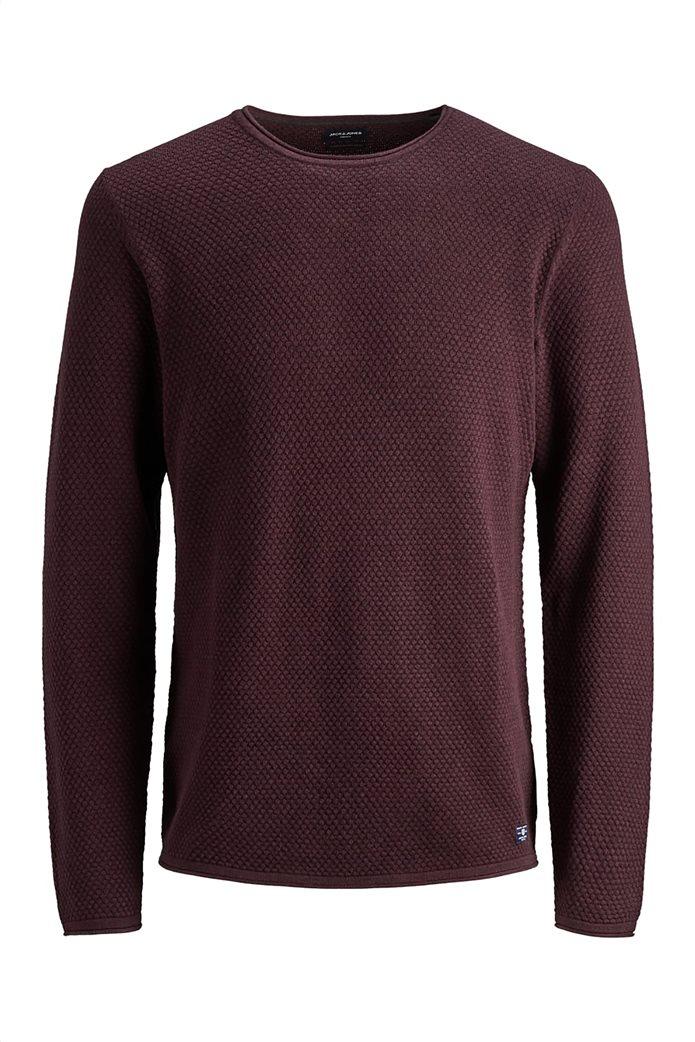 JACK & JONES ανδρική πλεκτή μπλούζα μονόχρωμη 4