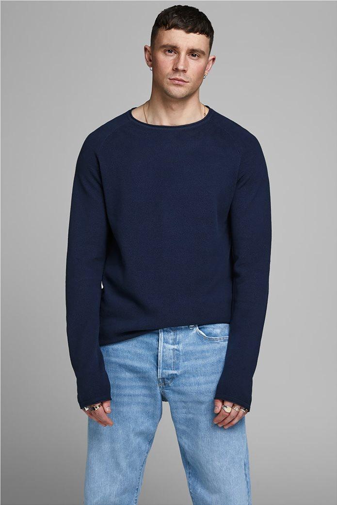 JACK & JONES ανδρική πλεκτή μπλούζα μονόχρωμη 0