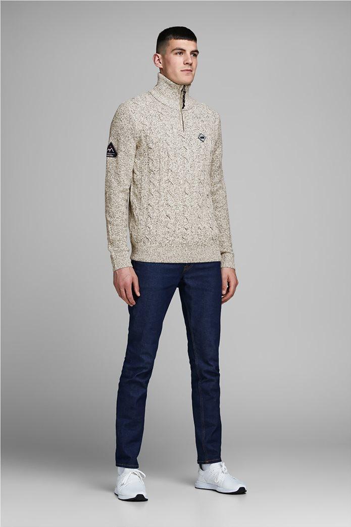 JACK & JONES ανδρική πλεκτή μπλούζα με 3/4 φερμουάρ 2