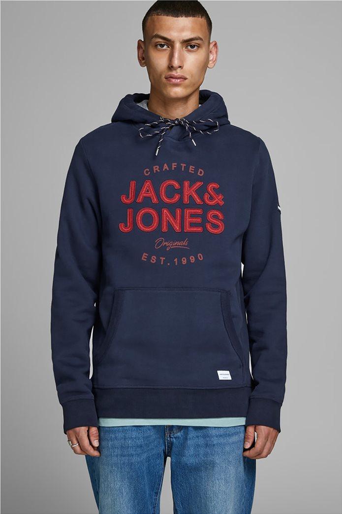 JACK & JONES ανδρικό φούτερ με κουκούλα και logo letter print 0