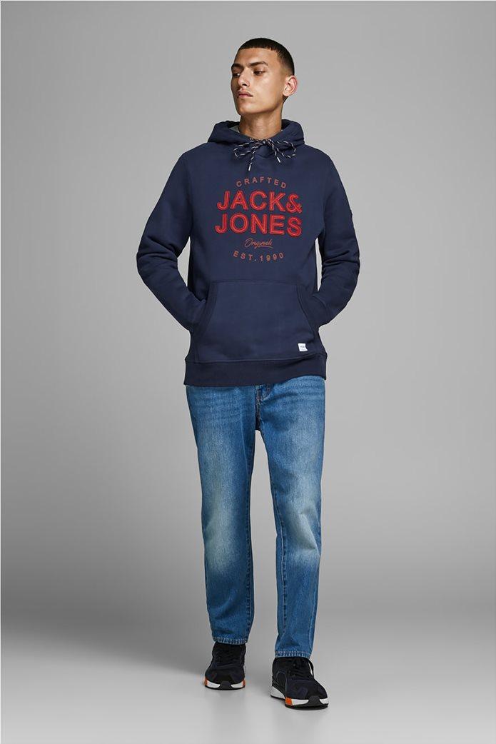 JACK & JONES ανδρικό φούτερ με κουκούλα και logo letter print 2