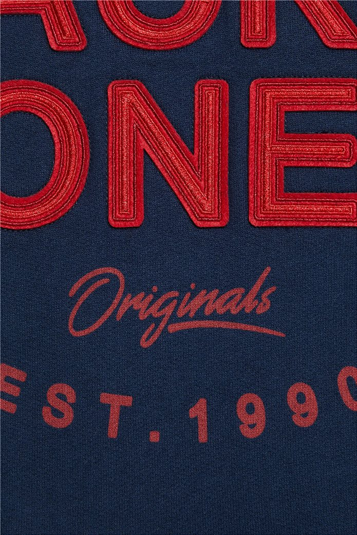 JACK & JONES ανδρικό φούτερ με κουκούλα και logo letter print 3