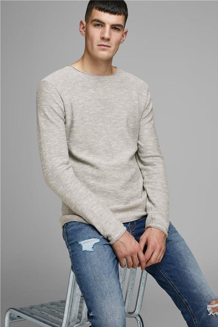 JACK & JONES ανδρική πλεκτή μπλούζα μονόχρωμη με στρογγυλή λαιμόκοψη 0