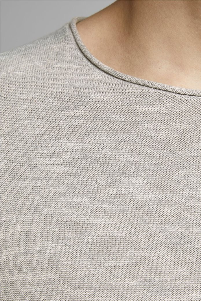 JACK & JONES ανδρική πλεκτή μπλούζα μονόχρωμη με στρογγυλή λαιμόκοψη 1
