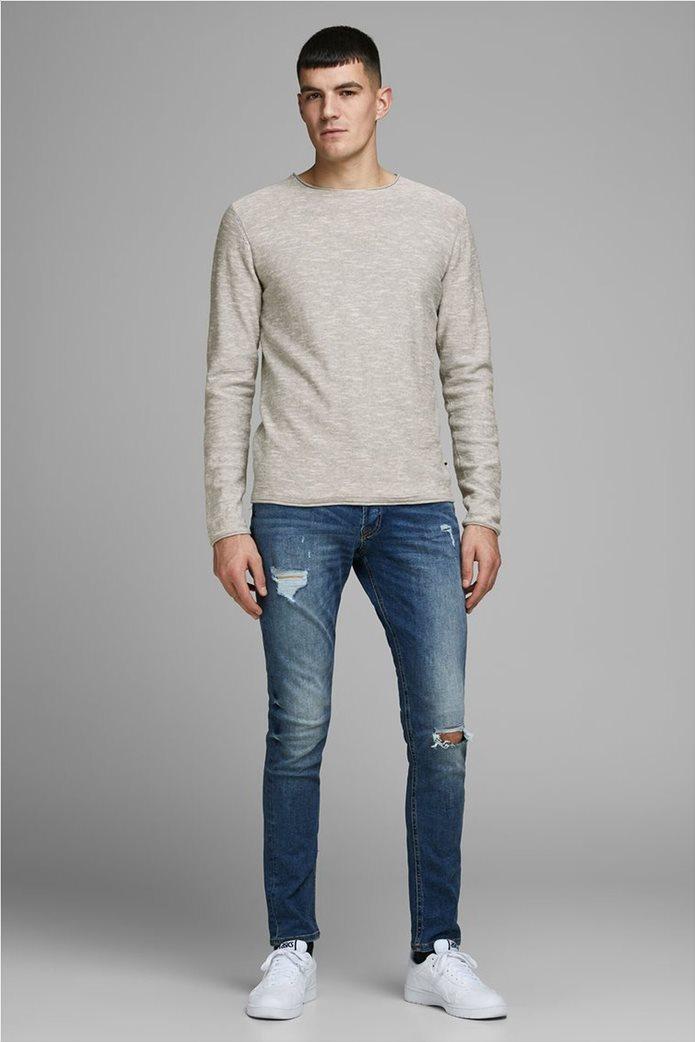JACK & JONES ανδρική πλεκτή μπλούζα μονόχρωμη με στρογγυλή λαιμόκοψη 2