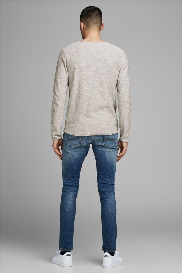 JACK & JONES ανδρική πλεκτή μπλούζα μονόχρωμη με στρογγυλή λαιμόκοψη 3