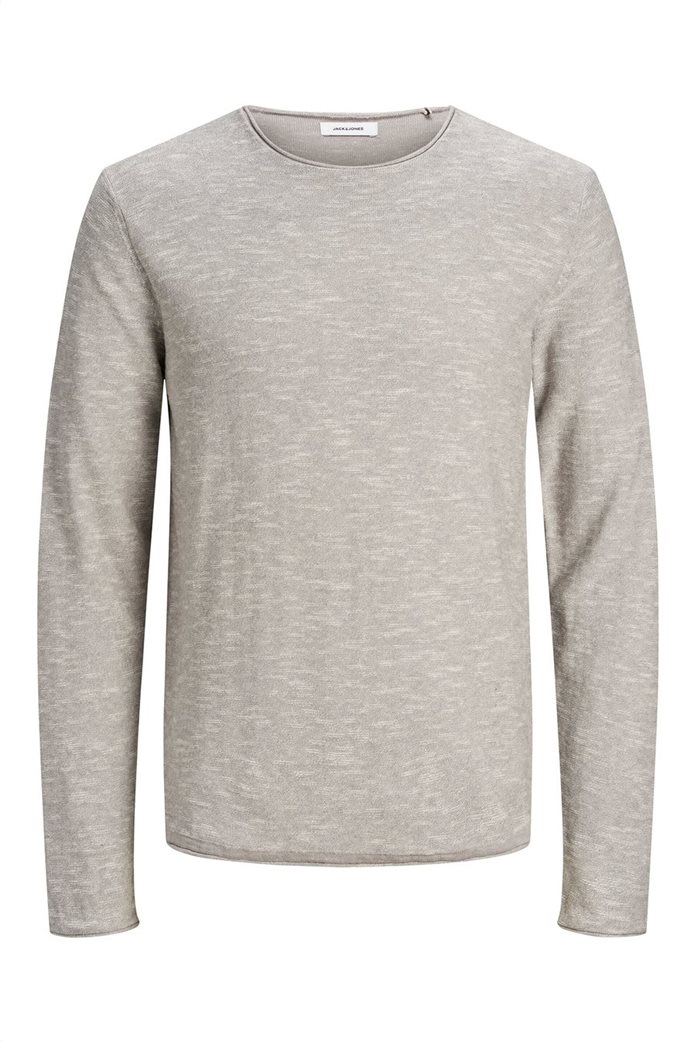 JACK & JONES ανδρική πλεκτή μπλούζα μονόχρωμη με στρογγυλή λαιμόκοψη 4