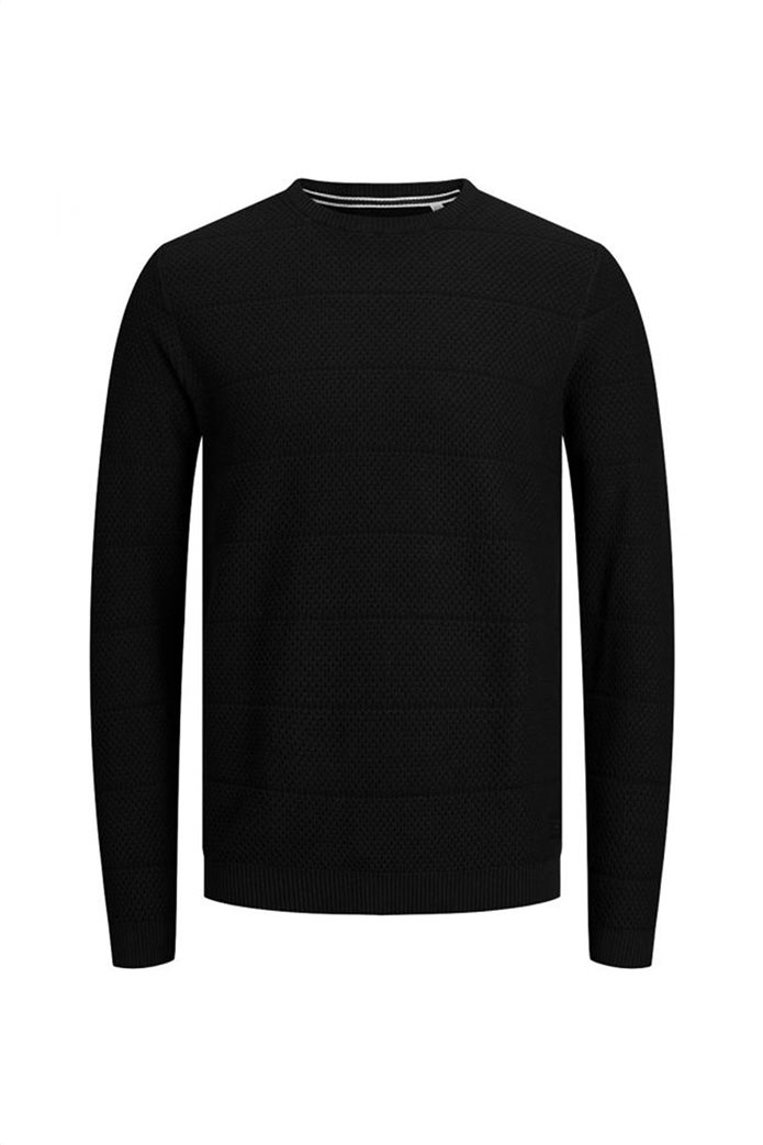 JACK & JONES ανδρική πλεκτή μπλούζα μονόχρωμη με logo patch 0