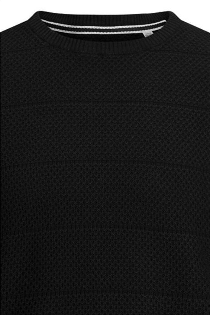 JACK & JONES ανδρική πλεκτή μπλούζα μονόχρωμη με logo patch 1