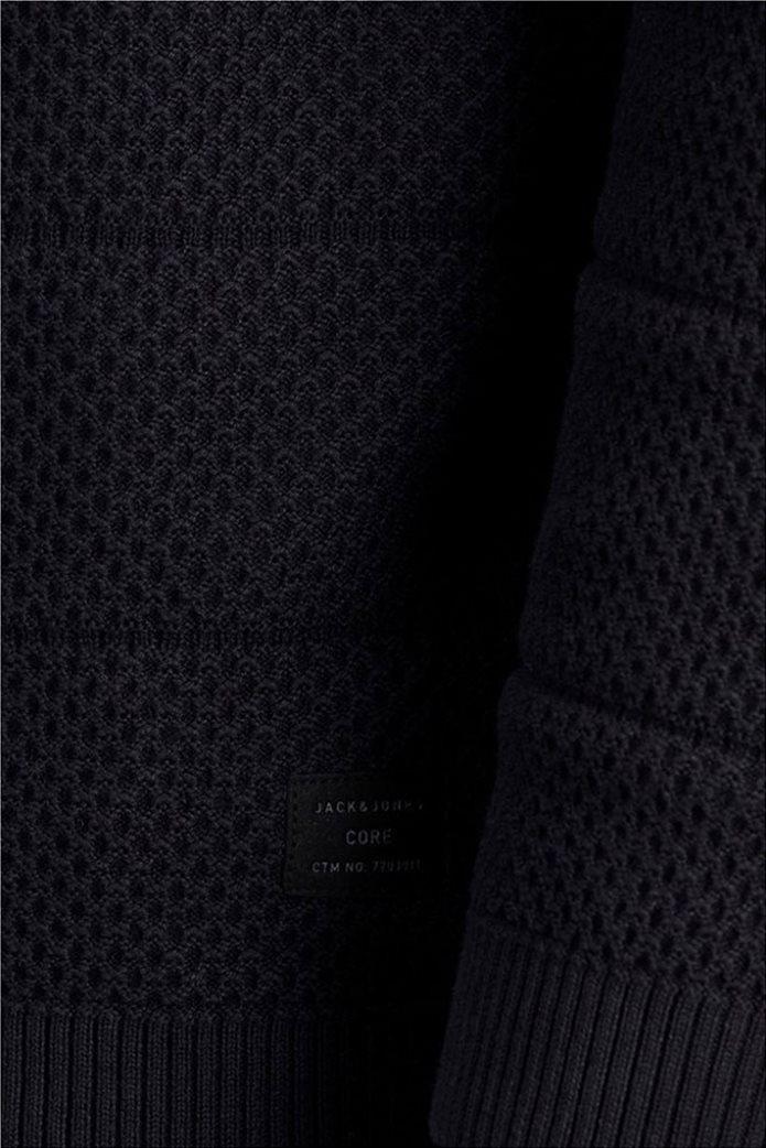 JACK & JONES ανδρική πλεκτή μπλούζα μονόχρωμη με logo patch 2