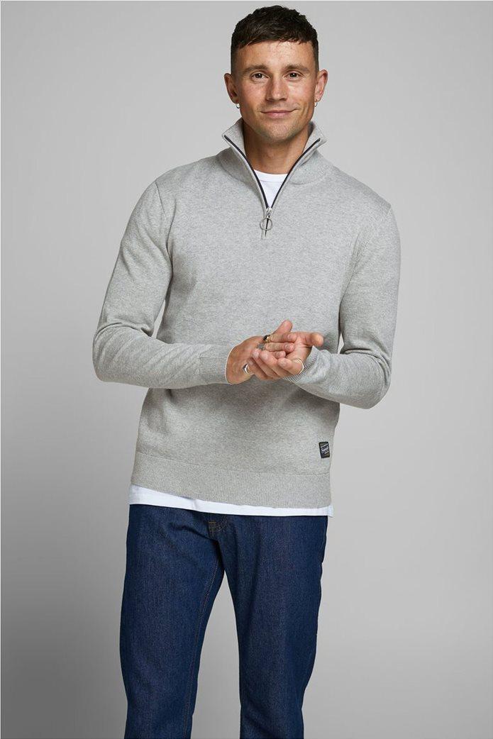 JACK & JONES ανδρική πλεκτή μπλούζα με φερμουάρ 1/2 0