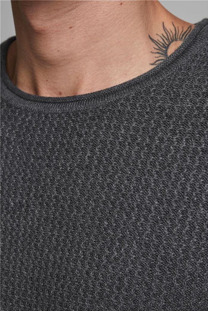 JACK & JONES ανδρικό ζακάρ πουλόβερ μονόχρωμο 3
