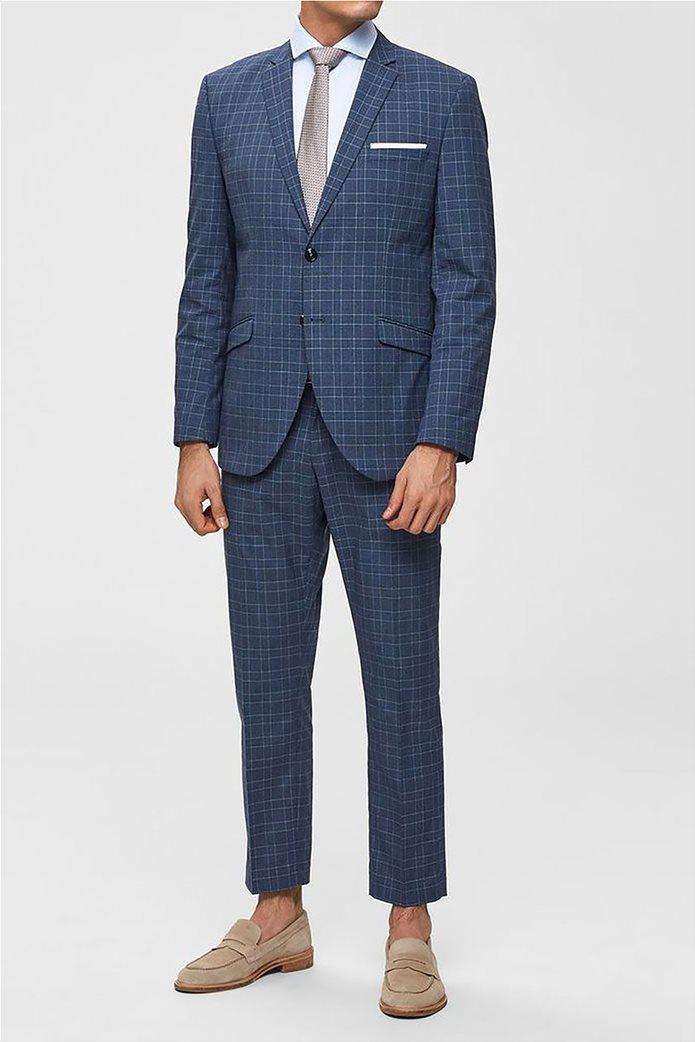 Selected ανδρικό σακάκι καρό με flap τσέπες Slim Fit 0