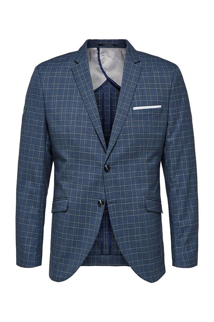 Selected ανδρικό σακάκι καρό με flap τσέπες Slim Fit 2