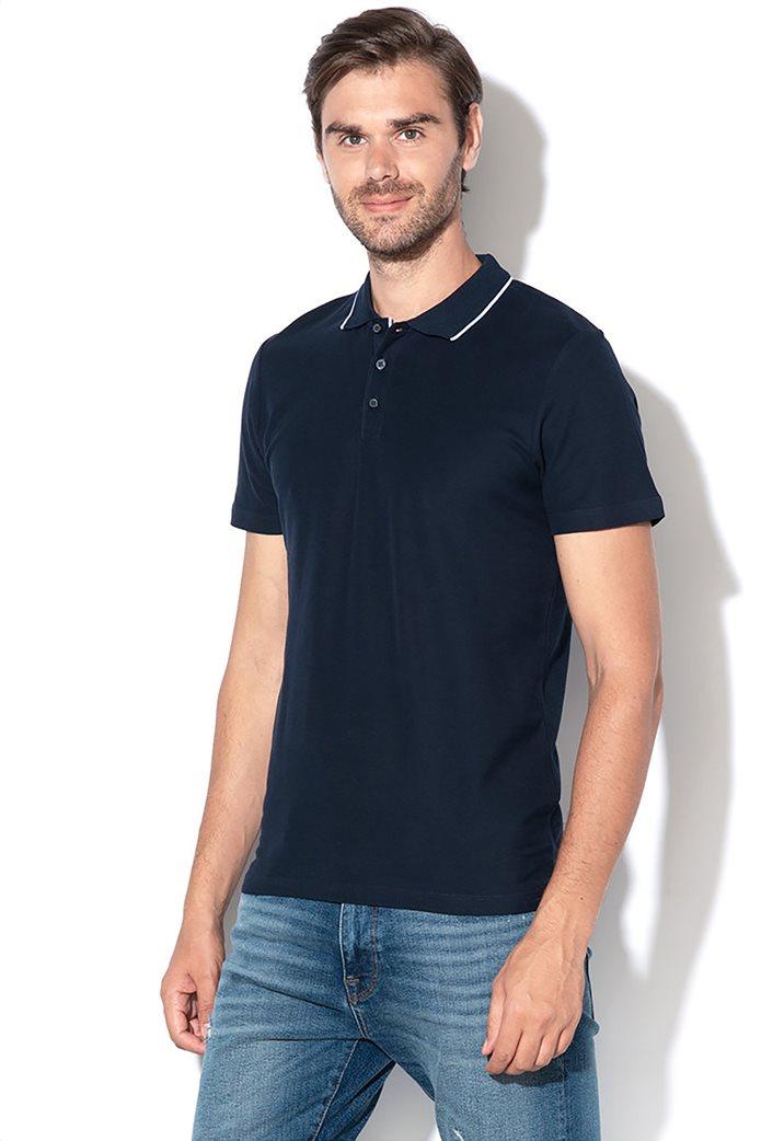 Selected ανδρική πόλο μπλούζα με ρίγα στο γιακά 0