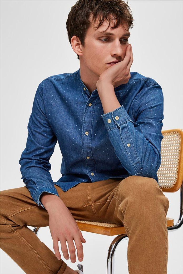 Selected ανδρικό πουκάμισο με μάο γιακά και print Regular Fit 0