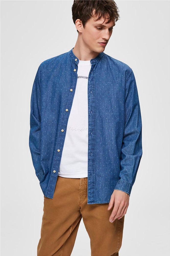 Selected ανδρικό πουκάμισο με μάο γιακά και print Regular Fit 1