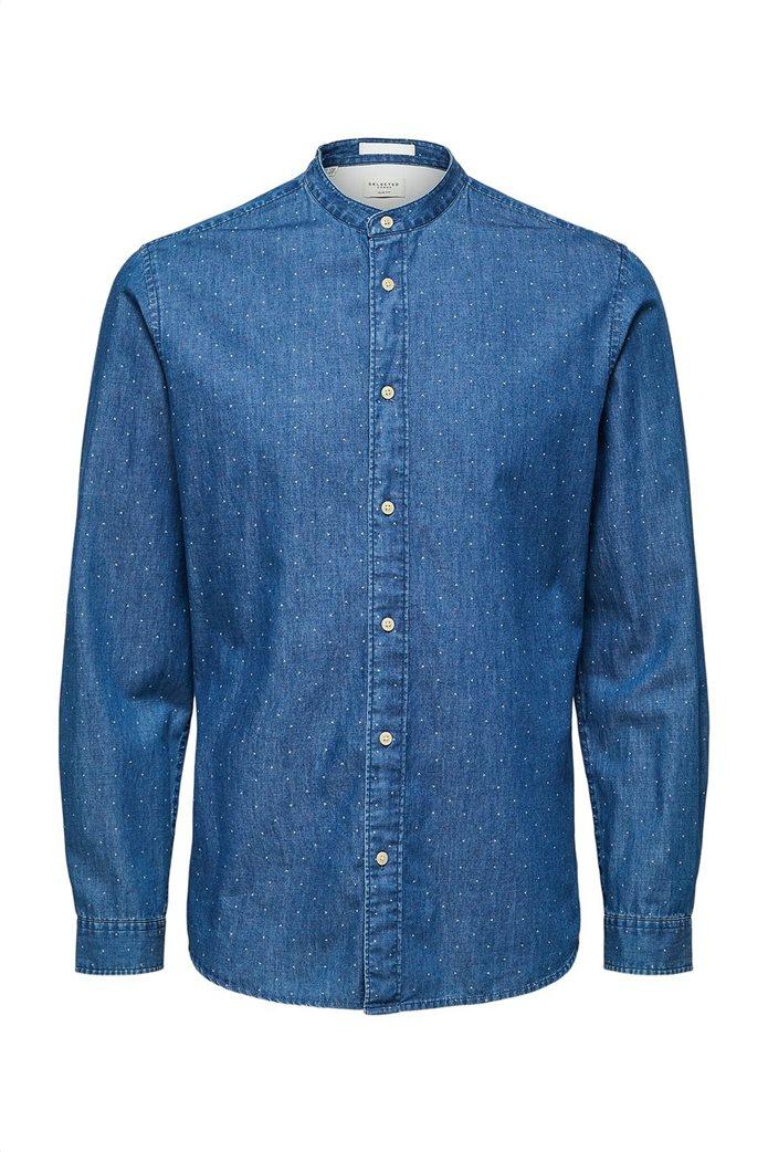 Selected ανδρικό πουκάμισο με μάο γιακά και print Regular Fit 3