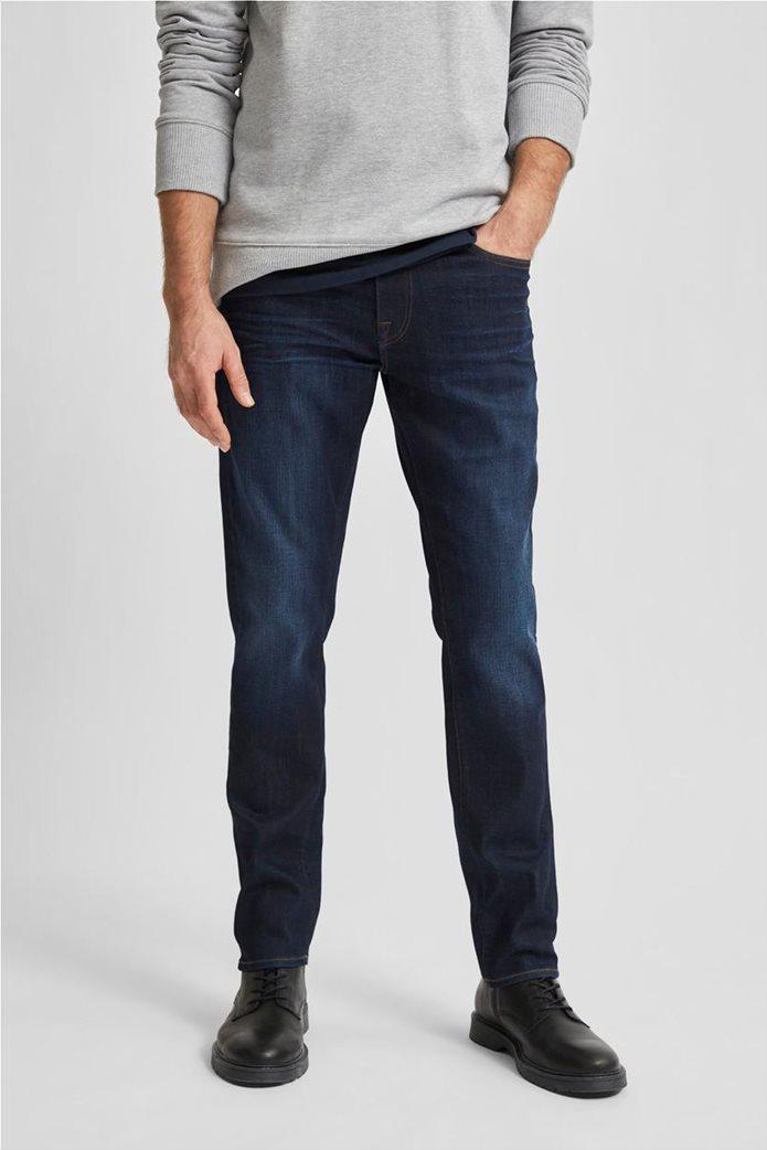 Selected ανδρικό τζην παντελόνι πεντάτσεπο Slim Fit COOLMAX® Μπλε Σκούρο 1