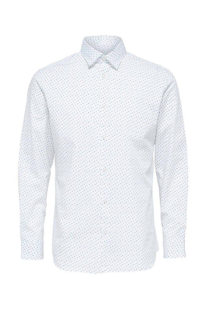 Selected ανδρικό πουκάμισο με microprint button-up Λευκό 4