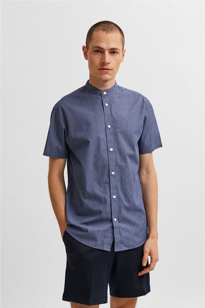 Selected ανδρικό πουκάμισο μονόχρωμο με μάο γιακά Slim Fit Μπλε Σκούρο 0