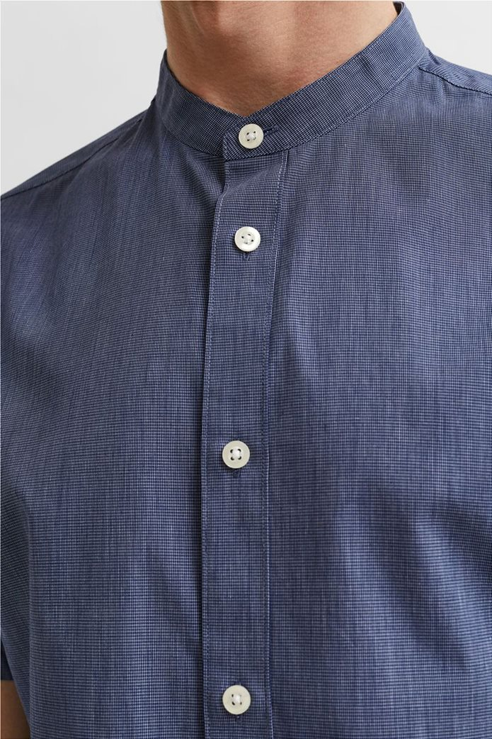 Selected ανδρικό πουκάμισο μονόχρωμο με μάο γιακά Slim Fit Μπλε Σκούρο 1