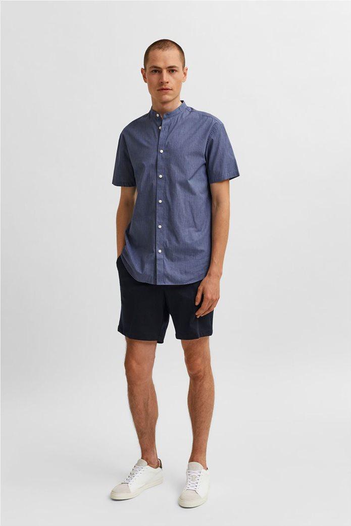 Selected ανδρικό πουκάμισο μονόχρωμο με μάο γιακά Slim Fit Μπλε Σκούρο 2