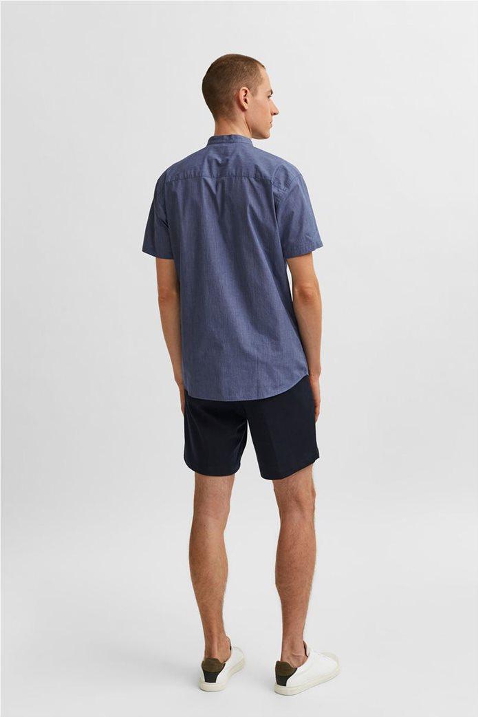 Selected ανδρικό πουκάμισο μονόχρωμο με μάο γιακά Slim Fit Μπλε Σκούρο 3