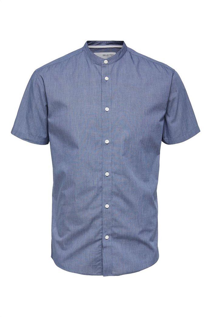 Selected ανδρικό πουκάμισο μονόχρωμο με μάο γιακά Slim Fit Μπλε Σκούρο 4