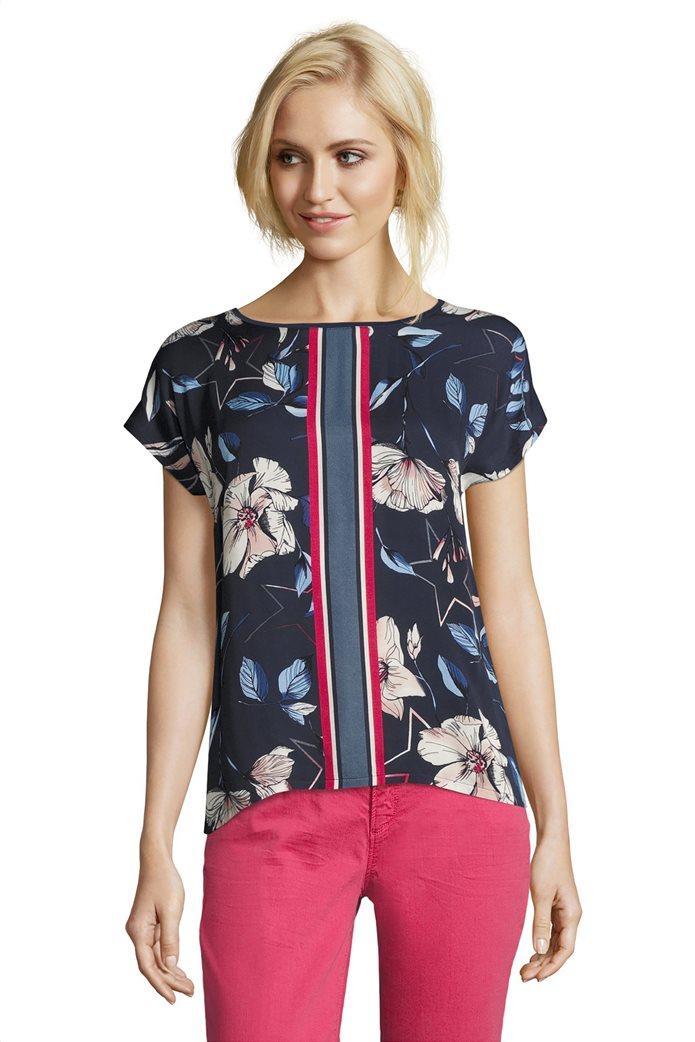 BΕΤΤΥ & CO Γυναικεία μπλούζα κοντομάνικη με φλοράλ print και κάθετες ρίγες 0