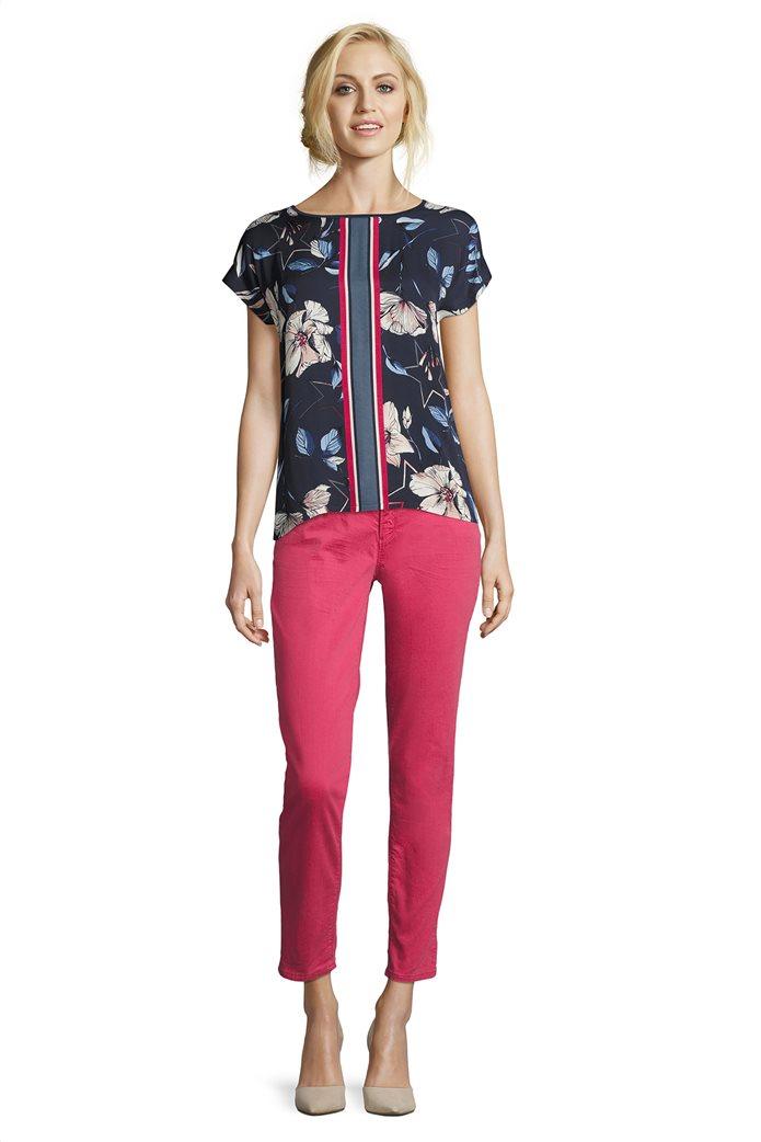 BΕΤΤΥ & CO Γυναικεία μπλούζα κοντομάνικη με φλοράλ print και κάθετες ρίγες 2