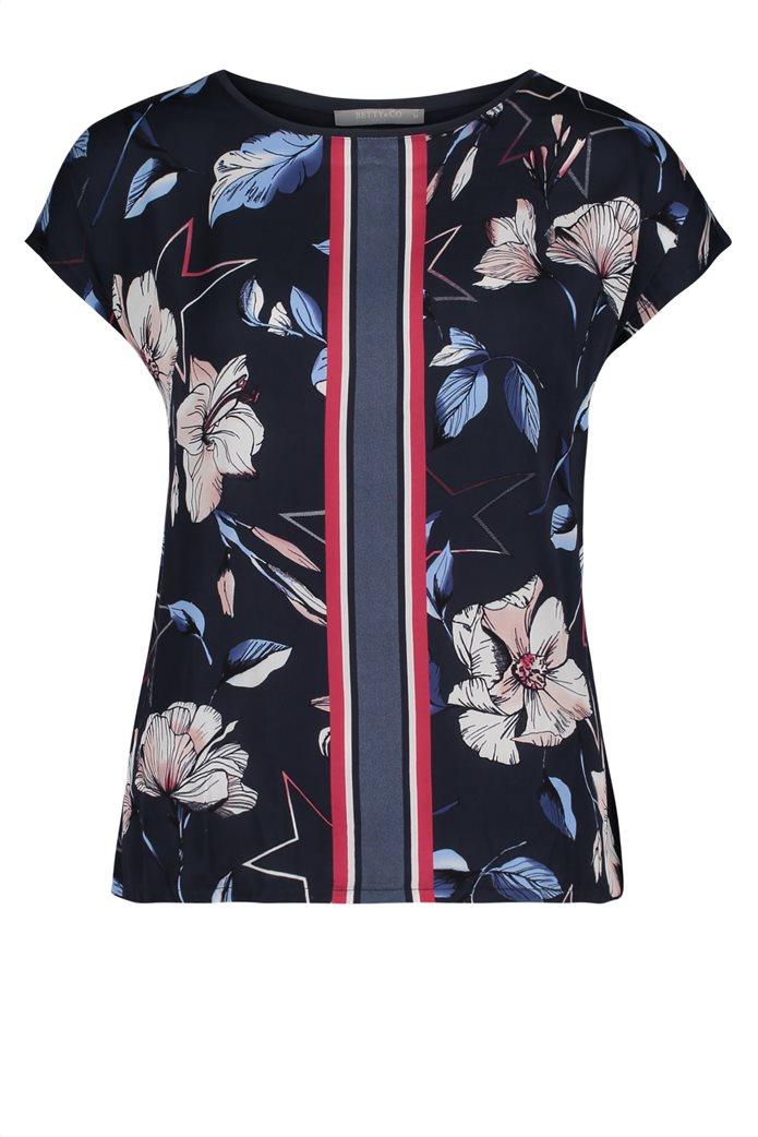 BΕΤΤΥ & CO Γυναικεία μπλούζα κοντομάνικη με φλοράλ print και κάθετες ρίγες 3