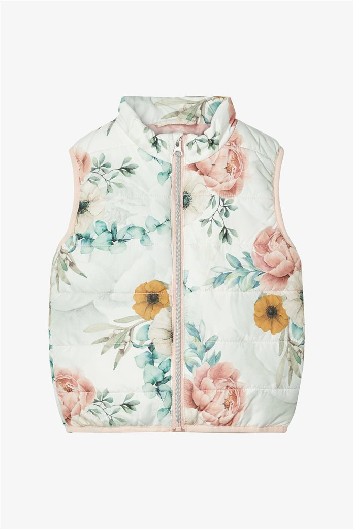 Name It παιδικό αμάνικο μπουφάν με all-over floral print 0