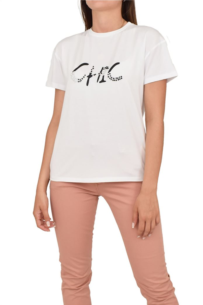 Forel γυναικείο T-shirt με lettering και πέρλες 0