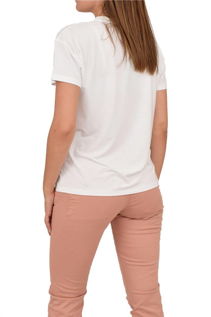 Forel γυναικείο T-shirt με lettering και πέρλες 1