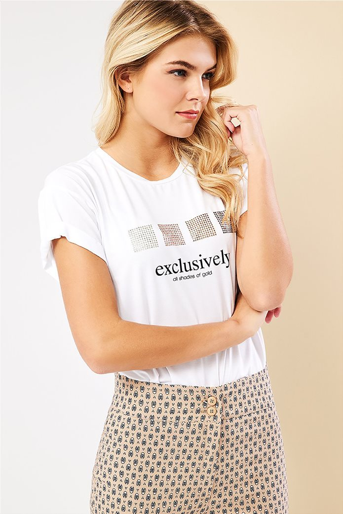 Forel γυναικείο T-shirt με lettering και στρας Λευκό 0