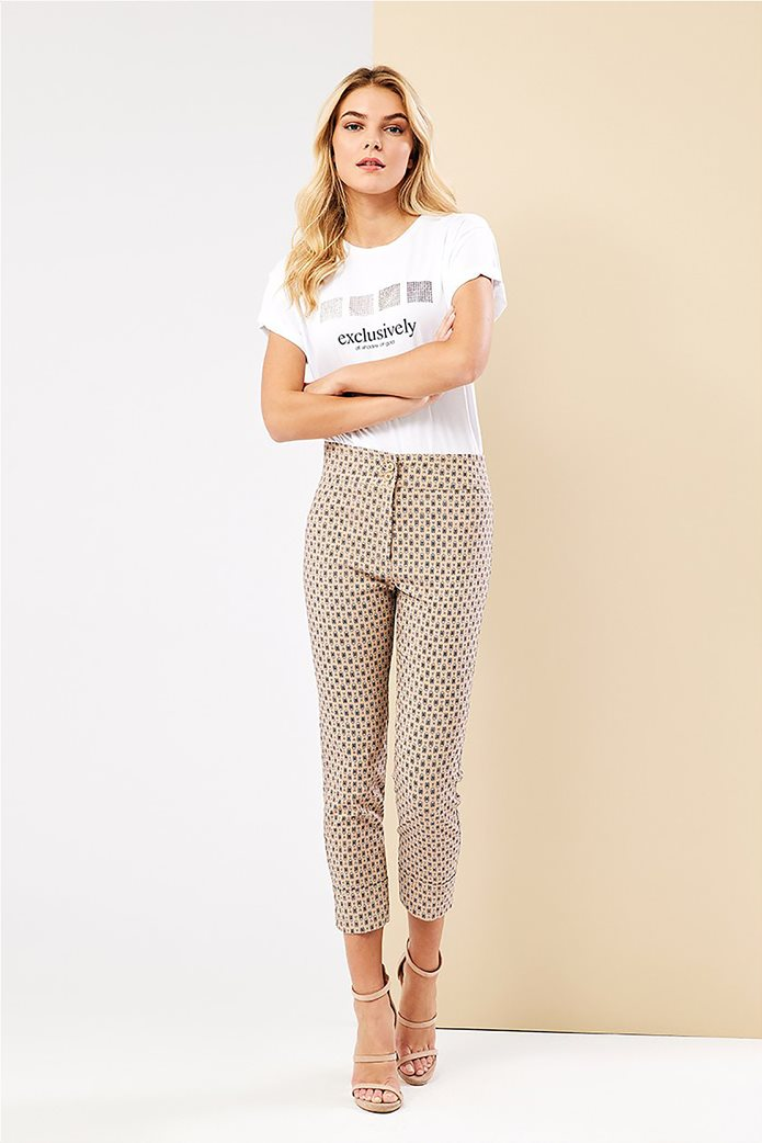 Forel γυναικείο T-shirt με lettering και στρας Λευκό 2