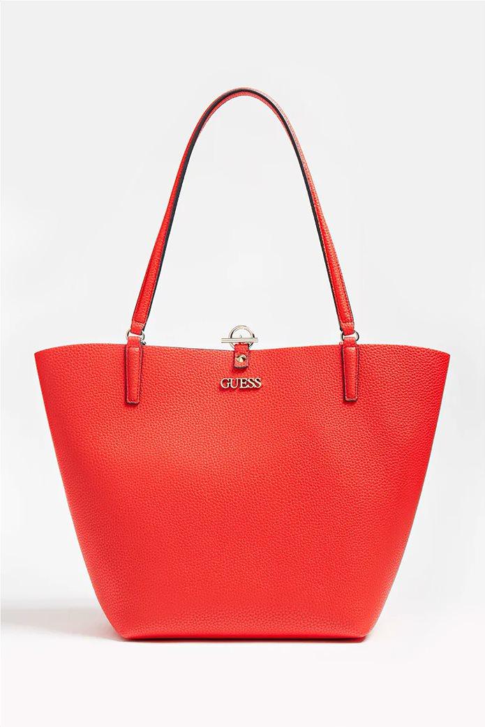 Guess γυναικεία τσάντα ώμου με μεταλλικό λογότυπο ''Alby'' 0